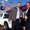 "Christian Heine, president, Bosch Power Tools North America (left) and Bob Hegbloom, director, Ram Truck Brand (right), name Ram the ""Official Truck of Bosch Power Tools & Accessories"" today during the World of Concrete trade show."