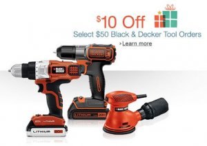 $10 Off Select $50 Black & Decker Tool Orders