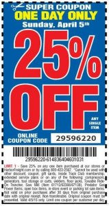 Harbor Freight 25 percent off coupon code