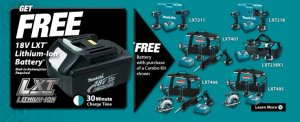 Makita free battery promotion