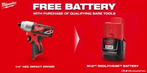 Milwaukee M12 12-Volt 1/4 in. Hex Impact (Tool-Only) with Free M12 2Ah Battery