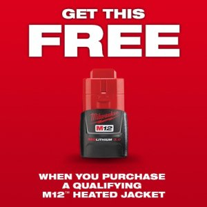 Free 3.0 M12 Battery with select Heated Jacket Purchase