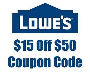 lowes $15 off $50 coupon code