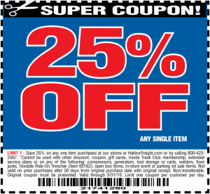 Harbor Freight Coupon 25 percent off