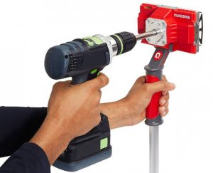 Drill-Powered Saw Cuts Square Holes In Seconds