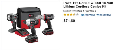 Porter-Cable 3-Tool 18V Lithium Combo Kit Only $71.60