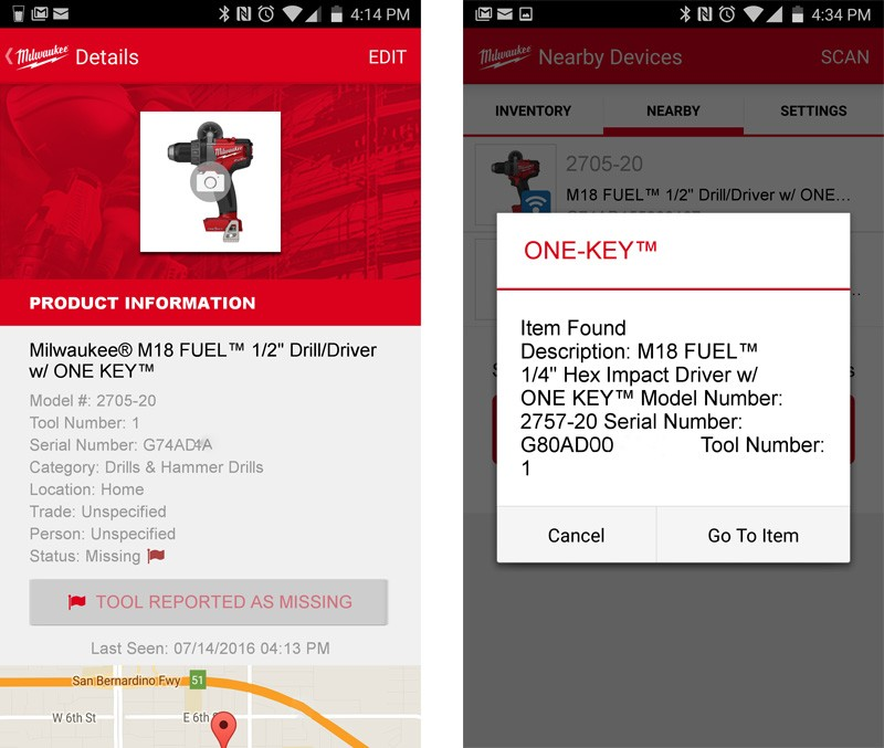 Milwaukee One-Key Tool Tracking
