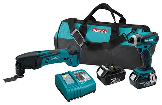 new makita cordless combo kits include their oscillating multi tool tool. Black Bedroom Furniture Sets. Home Design Ideas
