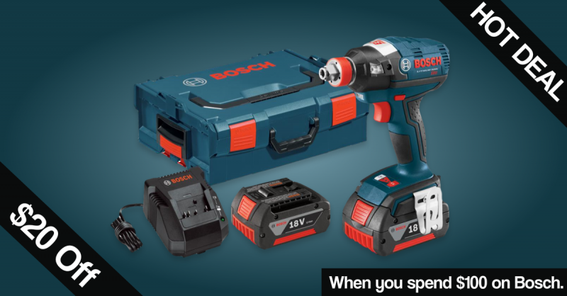 $20 off select Bosch orders of $100 or more