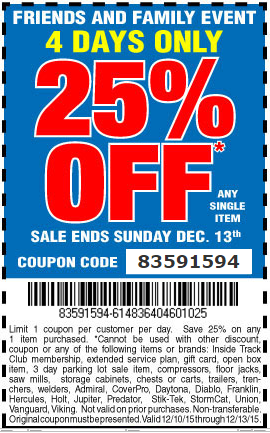 Hot Deal: Harbor Freight 25% Off Coupon Code - Tool-Rank.com
