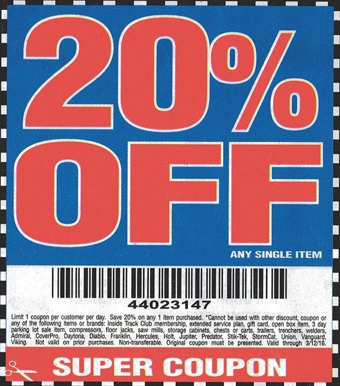 hot deal 2016 harbor freight 20 off coupon code tool