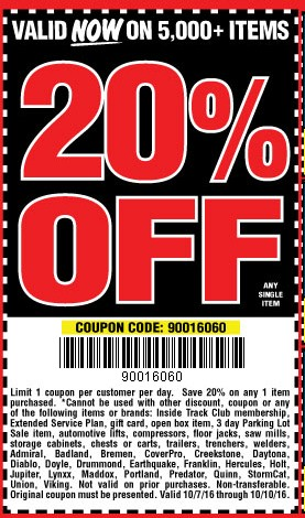 Hot Deal: Harbor Freight 20% Off Coupon Code - Tool-Rank.com