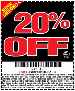20 Off Harbor Freight Coupons Can Save You Big Money At