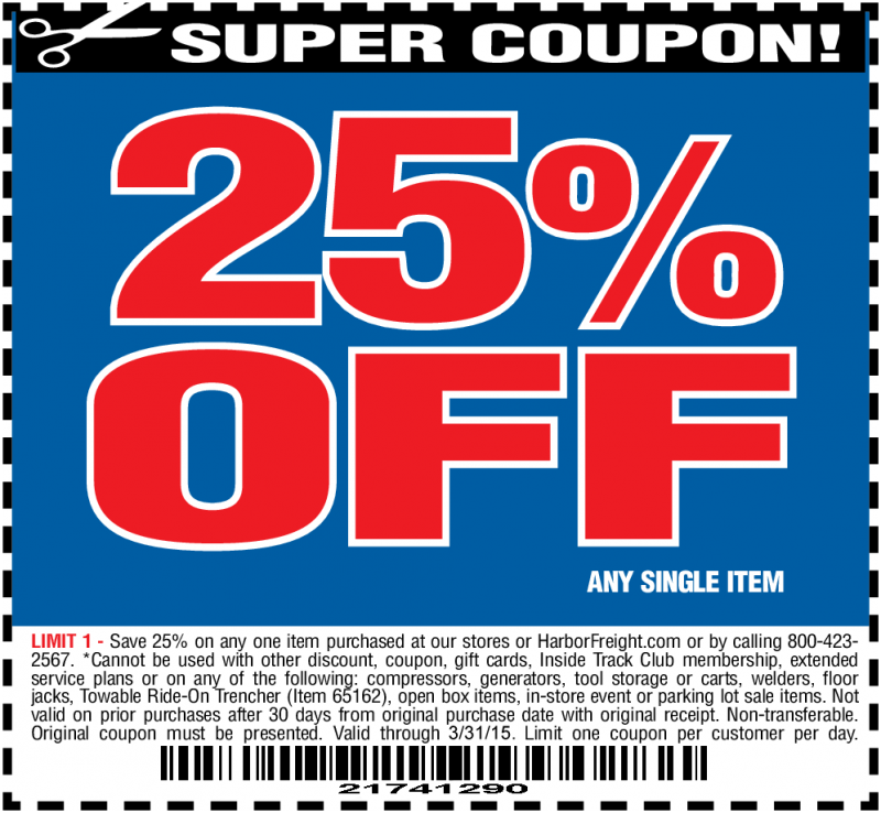 Popular Harbor Freight Tools Coupon Codes