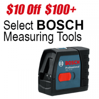 $10 off $100 Select Bosch Measuring Tools
