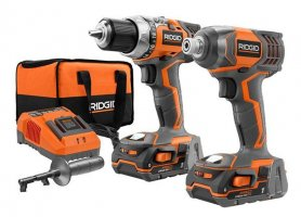 RIDGID 18-VOLT COMPACT DRILL AND IMPACT DRIVER KIT $139 - HOME DEPOT