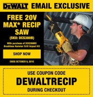 Free DeWalt 20V Max Recip Saw with Select Purchase @ ToolBarn