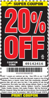 Harbor Freight 20% Off Coupon Code for Memorial Day