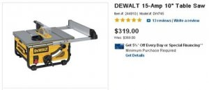 DeWalt Compact Table Saw DW745 On Clearance At Lowe's