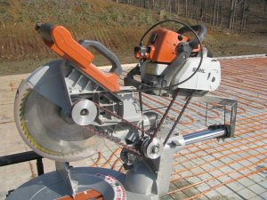 Amish modified gas powered Ridigid miter saw