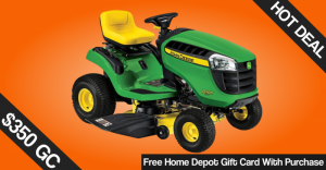 Free Home Depot Card (Up to $350) w/ John Deere Purchase