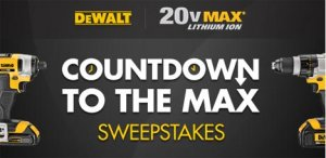 DeWalt Countdown To The Max Sweepstakes - Tool-Rank com