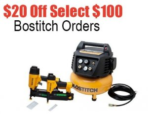$20 off $100 Bostitch