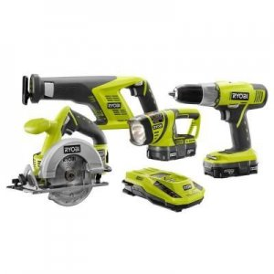Ryobi P1872 18-Volt ONE+ Lithium-Ion Combo Kit (4-Piece)