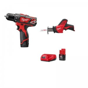 Milwaukee M12 12-Volt Lithium-Ion 3/8 in. Cordless Drill/Driver HACKZALL Combo Kit