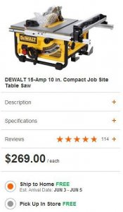 DW745 Table Saw Home Depot Sale