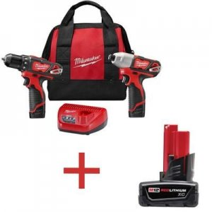 Milwaukee M12 12-Volt Cordless Drill Driver/Impact Driver Combo Kit (2-Tool) + Free Battery