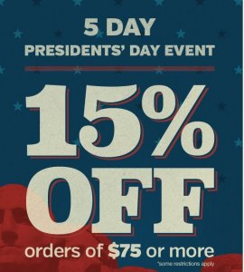 CPO Outlets 15% off Presidents Day Sale