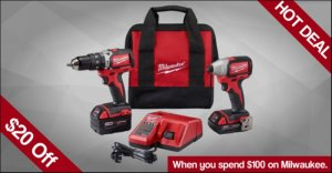 Milwaukee $20 off $100 at ACME Tools