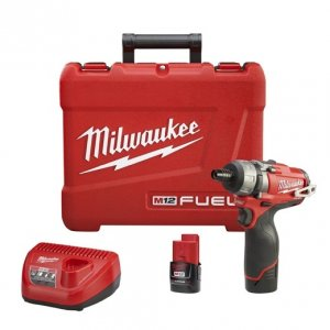 "Milwaukee M12 FUEL 1/4"" Hex 2-Speed Screwdriver Kit - 2402-22"