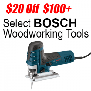 $20 off $100 Select Bosch Woodworking Tools