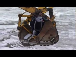 Crossing a river with excavators
